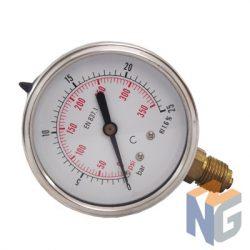 """Nyomásmérő óra 1/4"""" BSP 25 BAR alsó kivezetés"""