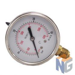 """Nyomásmérő óra 1/4"""" BSP 40 BAR alsó kivezetés"""