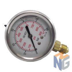 """Nyomásmérő óra 1/4"""" BSP 60 BAR alsó kivezetés"""