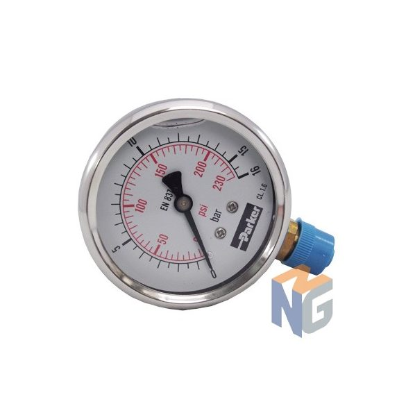 """Parker pressure gauge 63mm 16bar bottom outlet 1/4"""""""